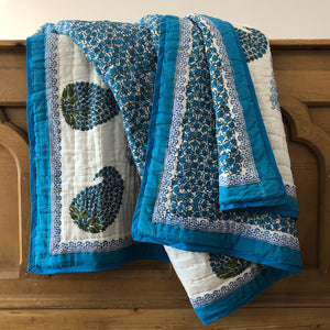 Hand Block Printed Indian bed Quilt, handcrafted in pure cotton. Fair trade, colourful, sustainable, eco-friendly and ethical for unique decor.
