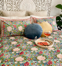 Load image into Gallery viewer, Hand Block Printed Bed Cover Set - Blue Jade