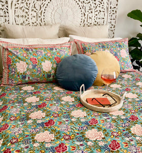 Hand Block Printed Bed Cover Set - Blue Jade