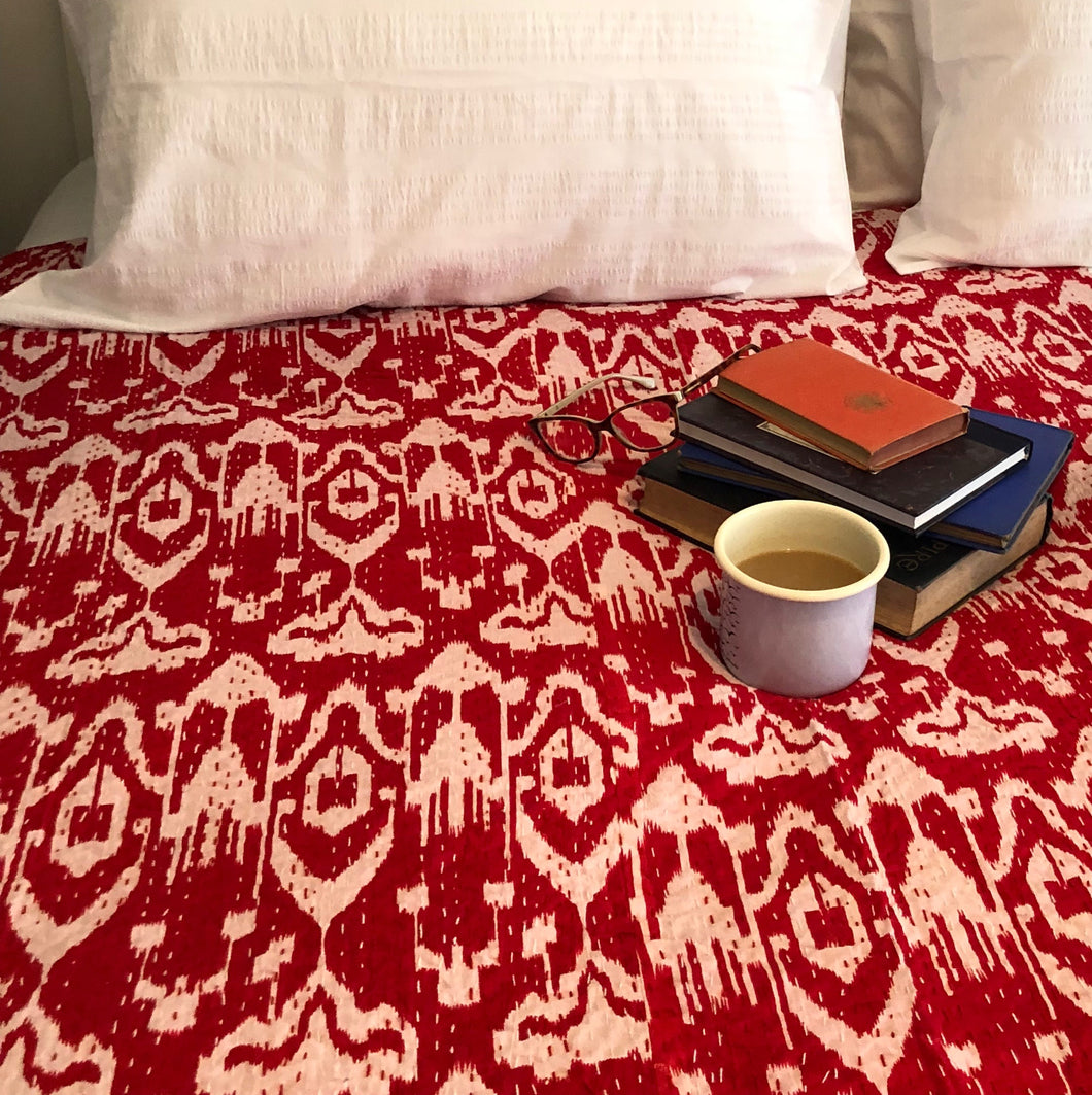 Screen Printed Kantha Quilt - Ikat Red