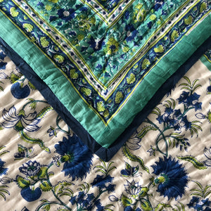 Hand Block Printed Quilt Set - Flower Blossom Sea Green