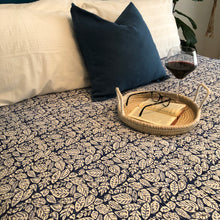 Load image into Gallery viewer, Hand block printed Kantha Quilt - Mix Patti Blue