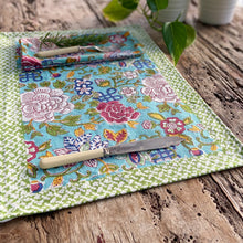 Load image into Gallery viewer, Hand Block Printed Table Runner - Jade