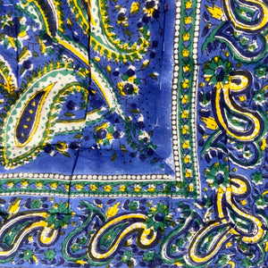 Hand Block Printed Quilt - Paisley Delight Blue