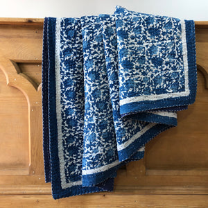 Indie Flora, Hand Block Printed Kantha Quilt handcrafted in pure cotton. Fair trade, colourful, sustainable, eco-friendly and ethical for unique decor.