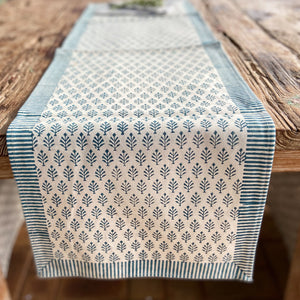 Hand Block Printed Table Runner - Majolika Blue