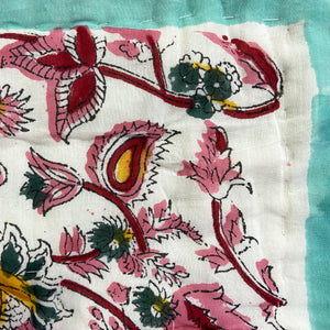 Hand Block Printed Quilt - Floral Jade More images to follow
