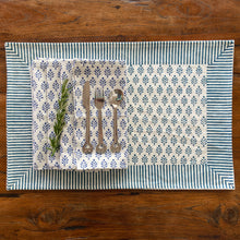 Load image into Gallery viewer, Hand Block Printed Placemats - Neem Blue - Set of 2