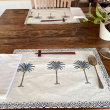 Load image into Gallery viewer, Hand Block Printed Placemats - Palm Tree - Set of 2