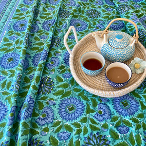 Hand Block Printed Tea Towel - Surajmukhi Blue