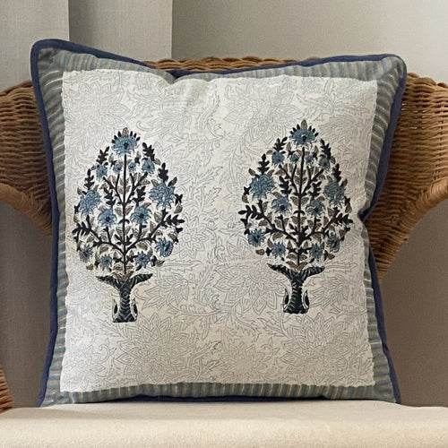 Hand Block Printed Cushion Cover - Madhubala Grey