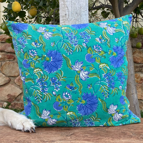 Hand Block Printed Cushion Cover - Flower Blossom Sea Green