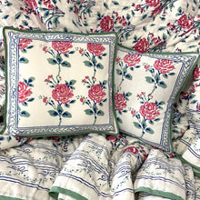 Load image into Gallery viewer, Hand Block Printed Cushion Cover - Rose Garden