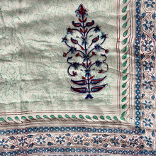 Load image into Gallery viewer, Hand Block Printed Quilt - Bush flower Blue
