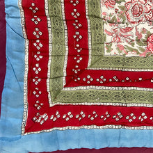 Load image into Gallery viewer, Hand Block Printed Quilt - Cornflower Pinks