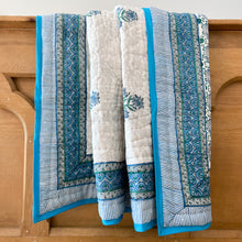 Load image into Gallery viewer, Hand Block Printed Quilt - Chakri Aqua