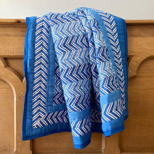 Hand Block Printed Quilt - Chevron Blue