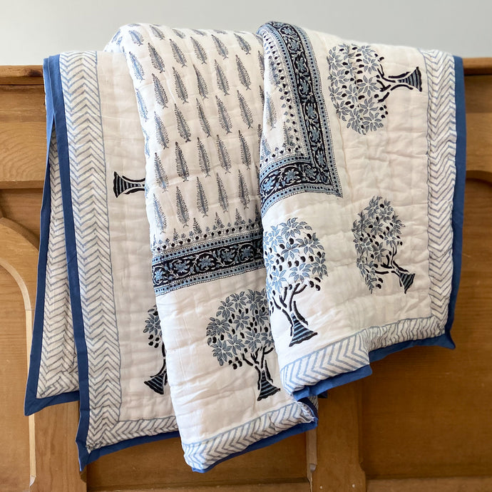 pretty white, grey & blue soft cotton Indian bed quilt