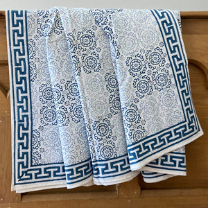 Queen size bed cover set. Pure cotton, hand block printed patchwork design in blue and grey