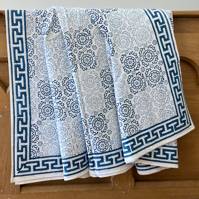 hand Block Printed Bed Cover Set - Blue/Grey Patch