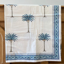 Load image into Gallery viewer, Hand Block Printed Bed Cover Set - Palm Tree Blue