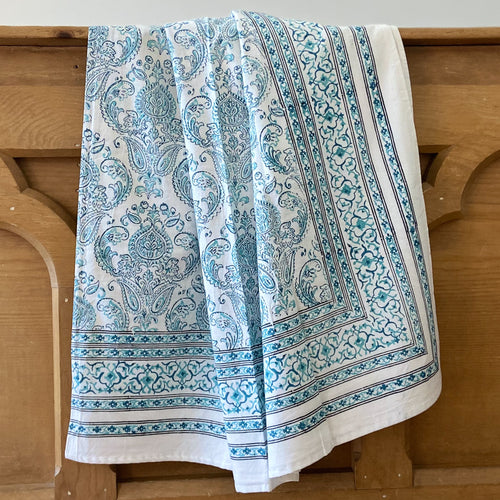 Hand Block Printed Bed Cover Set - Crown Jade