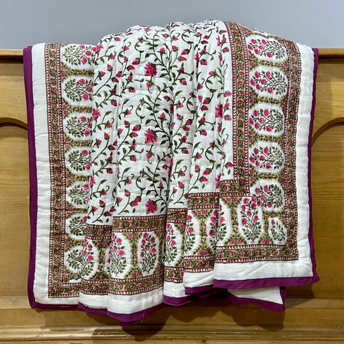 Hand Block Printed Quilt Set - Floral Bale Pink