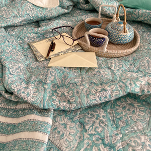 Hand Block Printed Quilted Bed Cover Set - Jade Flower