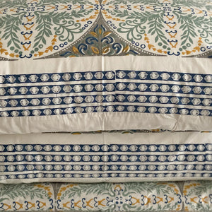 Hand Block Printed Bed Cover Set - Antique Dawn