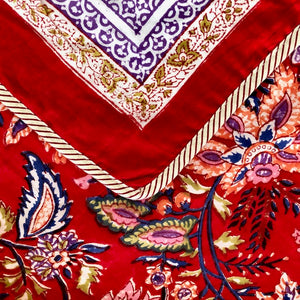 Hand Block Printed Dohar - Misty Red
