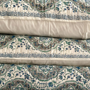 Hand Block Printed Quilted Bed Cover Set - Patti Jade
