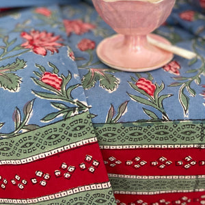 Hand Block Printed Table Cloth - Cornflower Blue