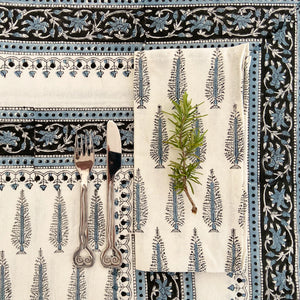 Hand Block Printed Table Cloth - Winter Fall Tree