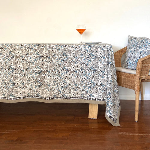 Hand Block Printed Table Cloth - Passion Flower Violet