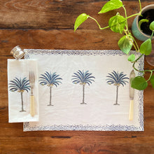 Load image into Gallery viewer, Hand Block Printed Napkins - Blue Palm Tree - 4