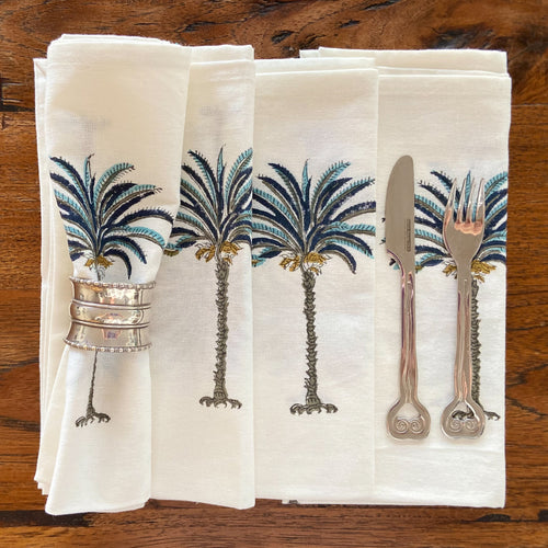 Hand Block Printed Napkins - Blue Palm Tree - 4