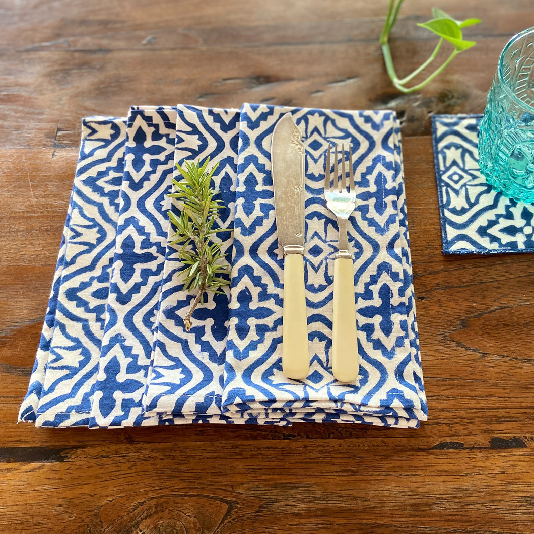 Hand Block Printed Napkins - Cross Flower Blue - 4