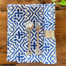 Load image into Gallery viewer, Cross flower blue set of four hand block printed fair trade napkins