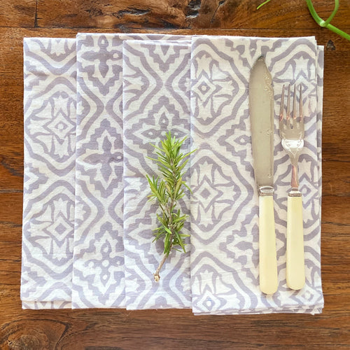 Hand Block Printed Napkins - Cross Flower Grey - 4