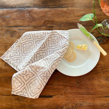 Load image into Gallery viewer, Hand Block Printed Napkins - Cross Flower Grey - 4