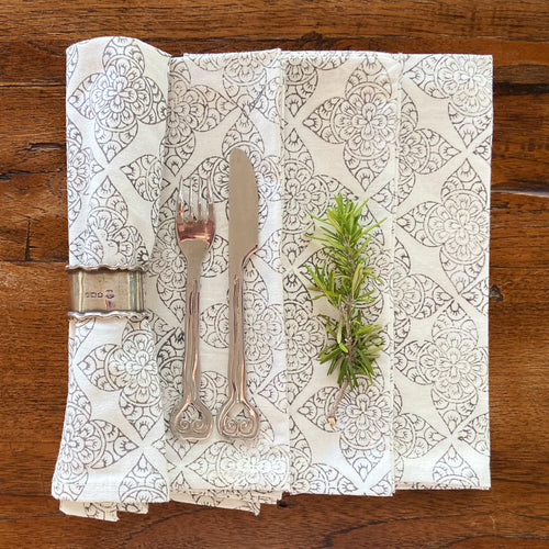 Hand Block Printed Napkins - Chokor Grey - 4