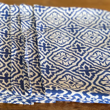 Load image into Gallery viewer, Hand Block Printed Tea Towel - Cross flower Blue