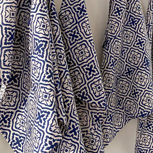 Hand Block Printed Tea Towel - Cross flower Blue