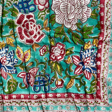 Load image into Gallery viewer, Hand Block Printed Quilt - Floral Canvas Jade