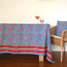 Load image into Gallery viewer, Hand Block Printed Table Cloth - Cornflower Blue