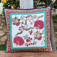 Load image into Gallery viewer, Hand Block Printed Cushion Cover - Flower Blossom Jade