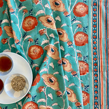 Load image into Gallery viewer, Hand Block Printed Table Cloth - Teal Flower