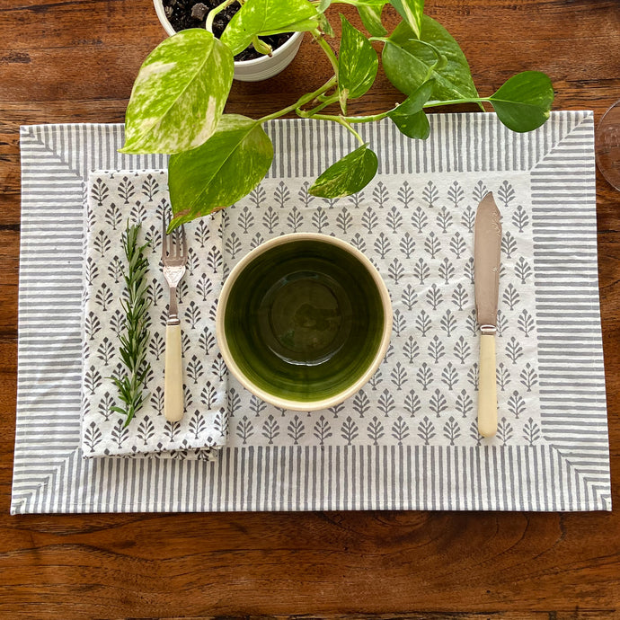 Hand Block Printed Placemats, handcrafted in pure cotton. Fair trade, colourful, sustainable, eco-friendly and ethical for unique décor