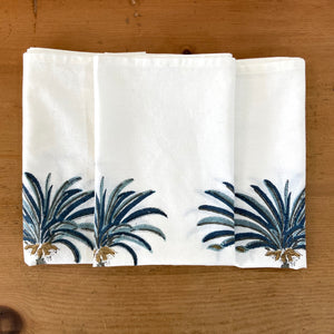 Hand Block Printed Table Cloth - Palm Tree Blue