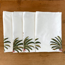 Load image into Gallery viewer, Hand Block Printed Tea Towel - Green Palm Tree